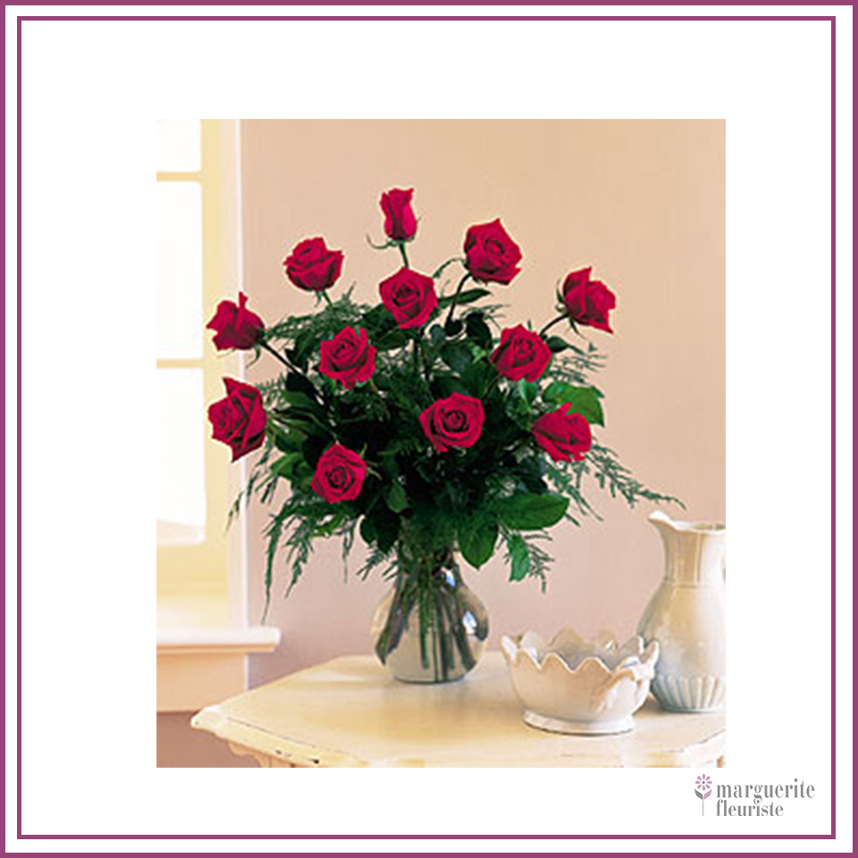 12 roses rouge avec vase 80.00$