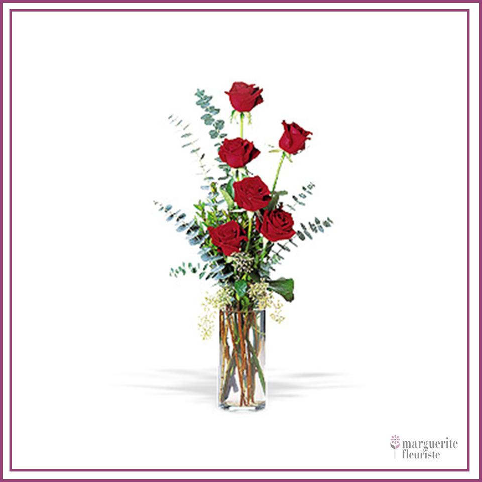 6 roses rouge avec soupir de bébé et eucalyptus à partir de 37.50$