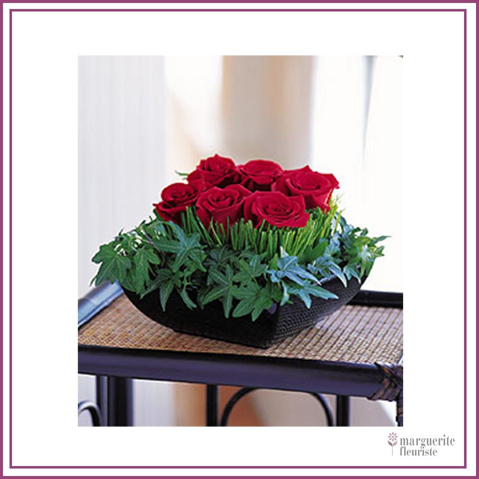 6 roses rouge avec lière 56.50$