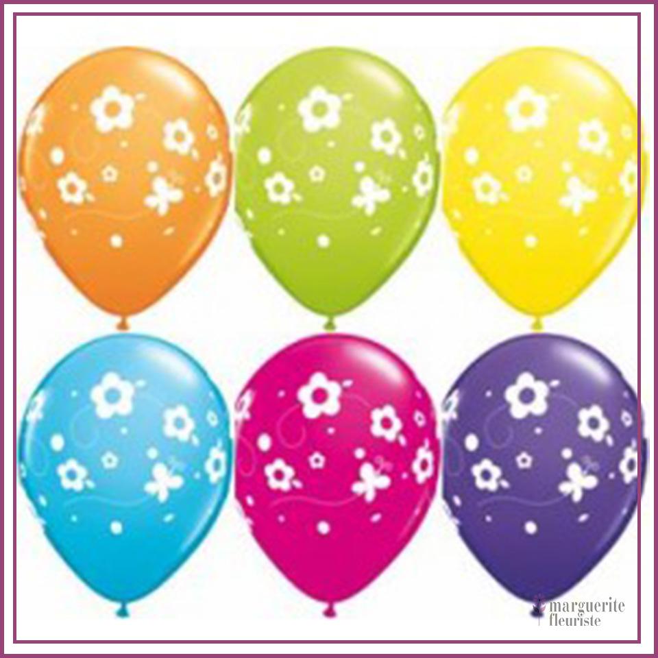 Ballon latex a fleurs perle 11pouces