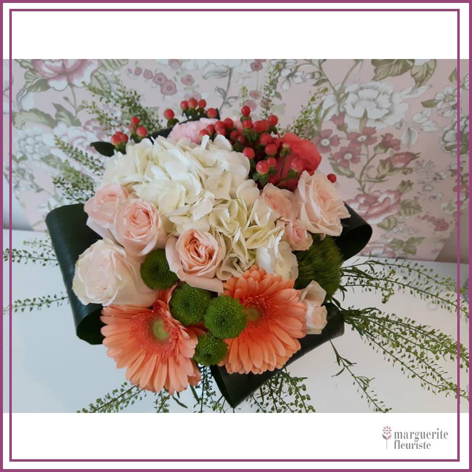 Bouquet de gerbera, rose et hypéricum