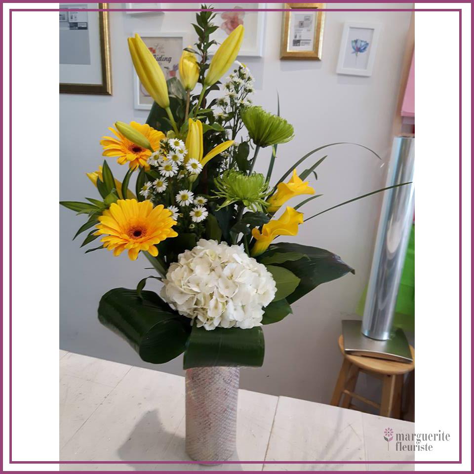 Bouquet de lys, gerbera et hydrangé