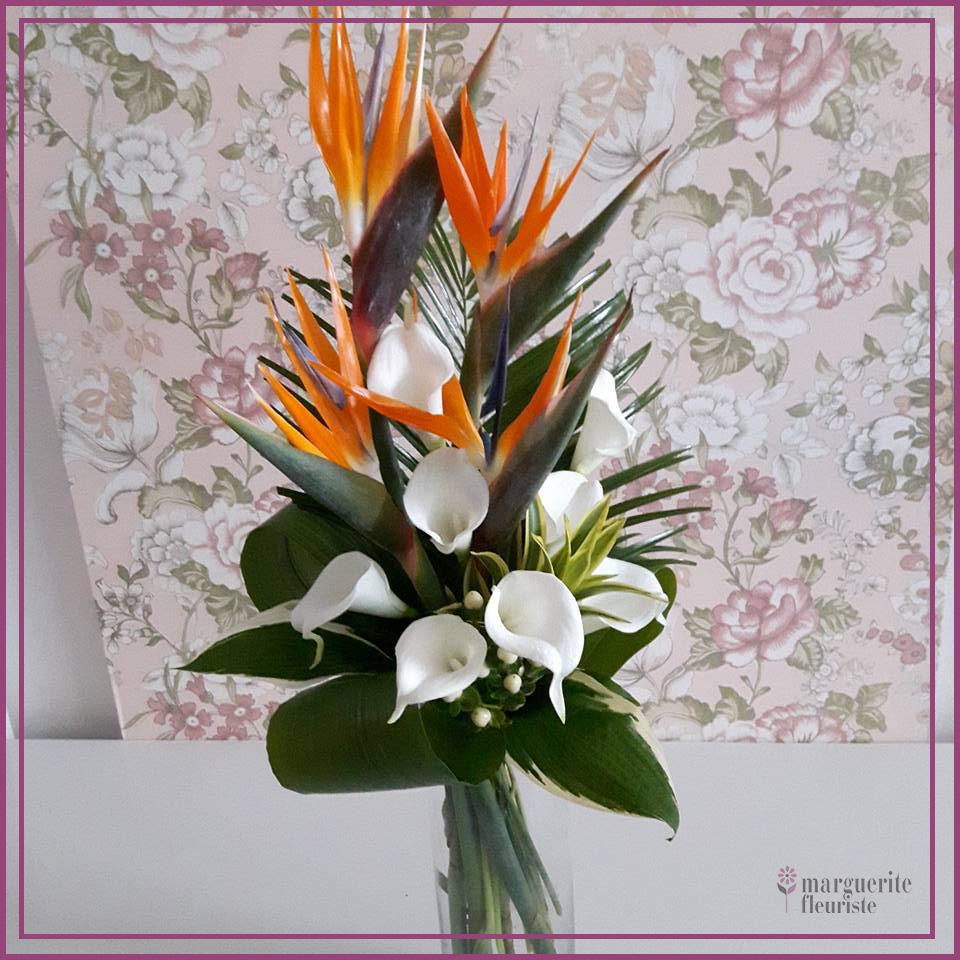 Bouquet d'oiseaux et lys callas