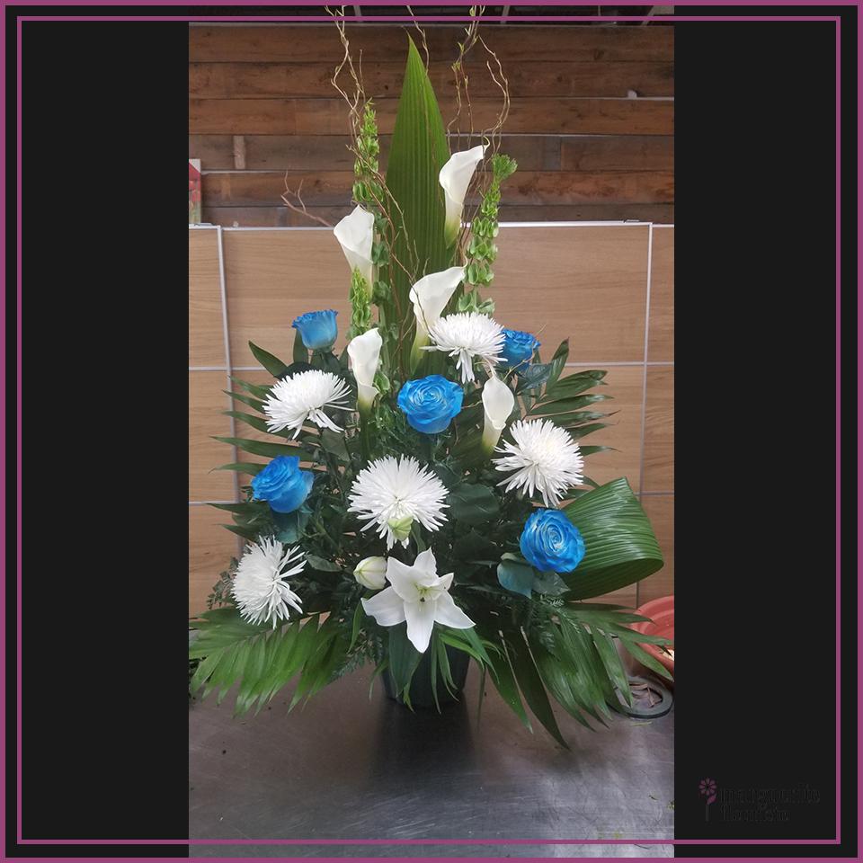 Corbeil bleu et blanche