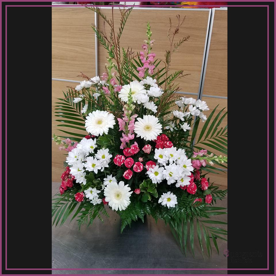 Corbeil blanche et rose